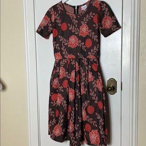 LulaRoe dress size Sm. Brown with orange flowers